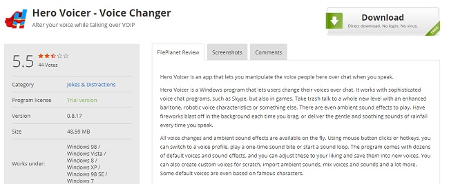 Hero Voicer Voice Changing Software