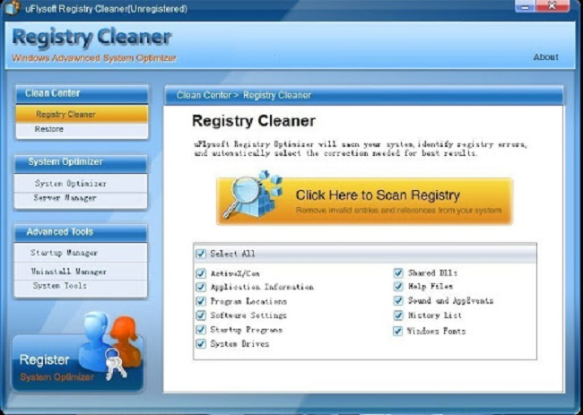 uFlysoft Registry Cleaner Best DLL File Fixer Software