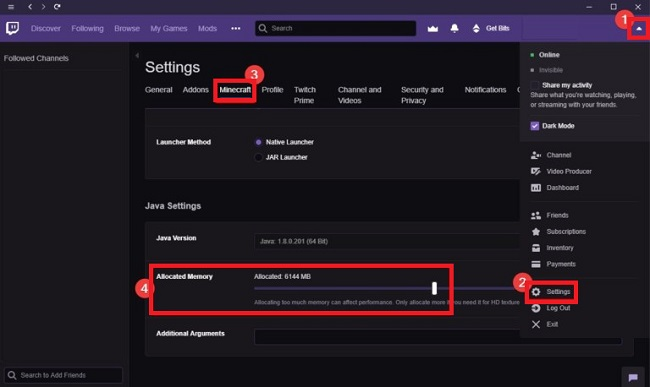 Use Twitch Desktop app to Allocate More Ram to Minecraft Server
