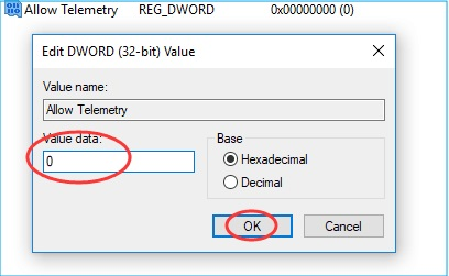 Change the value data to zero to solve the Microsoft Compatibility Telemetry High CPU Usage problem