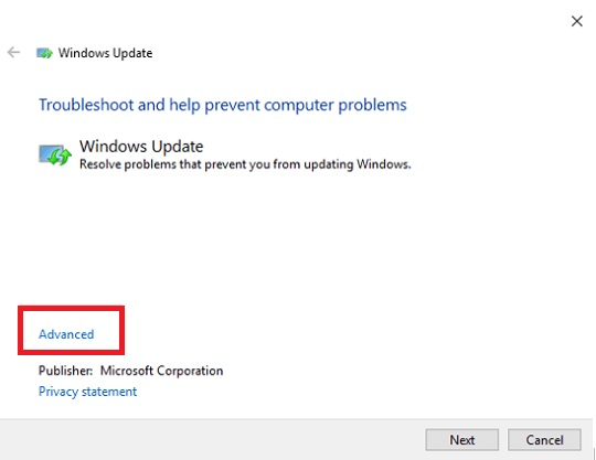 Click on Advanced Option to Fix 0x800705b4 Windows Update Error