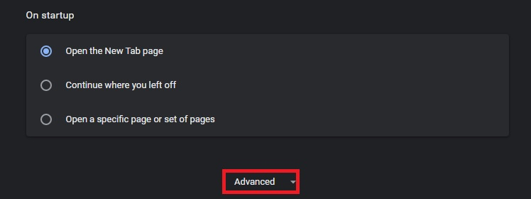Click on Advanced Option