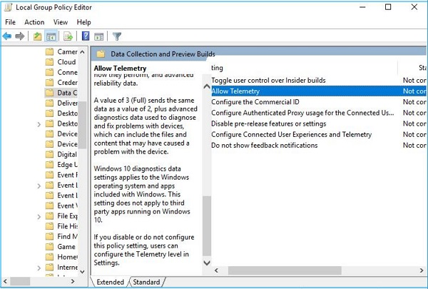 Click on Allow Telemetry to fix Microsoft Compatibility Telemetry High CPU Usage