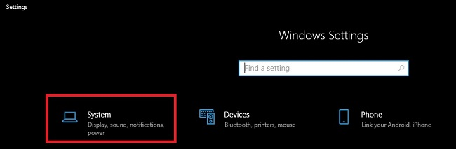 Click on System Tab in Windows Settings