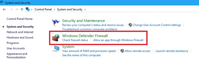 Click on Windows Defender Firewall