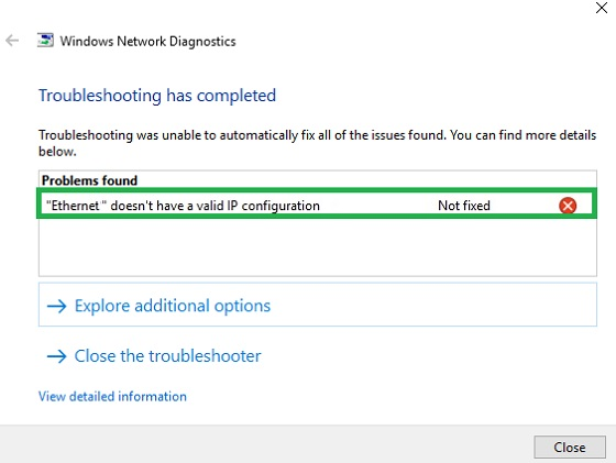 How to Fix Ethernet Doesn't have a Valid IP Configuration error