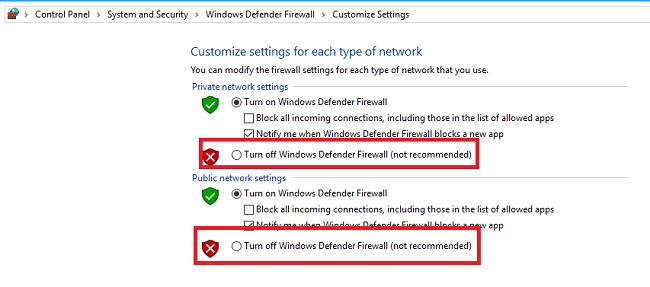 Click on Turn Off Windows Defender Firewall Option to fix ERR_QUIC_PROTOCOL_ERROR