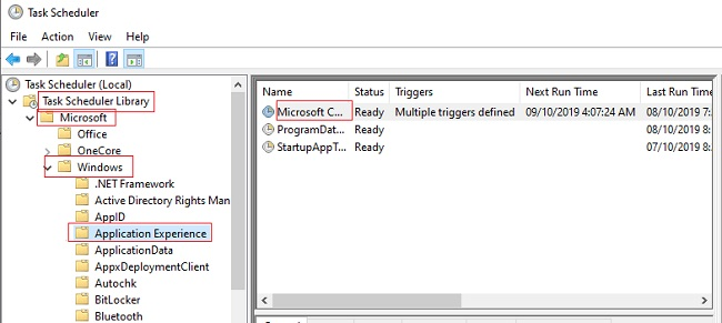 Click on Application Experience in Task Scheduler Window to fix Microsoft Compatibility Telemetry High CPU Usage