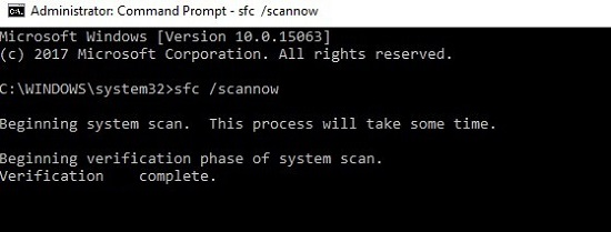 Type sfc /scannow to fix Atikmdag.sys BSOD error