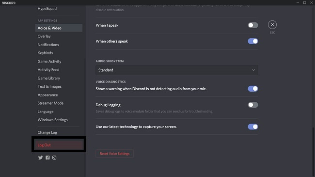 Click on Log Out option to log out from the discord