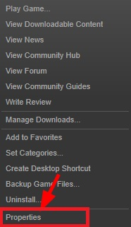 Click on Properties Option