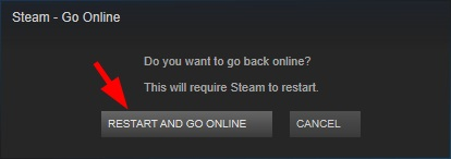 Click on Restart and Go Online to fix VAC Was Unable to Verify the Game Session