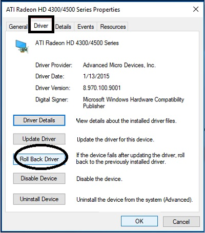 Click on Roll Back Driver to solve the Com Surrogate has Stopped Working error