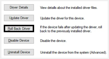 Select Roll Back Driver to solve the Wacom Tablet Driver Not Found error