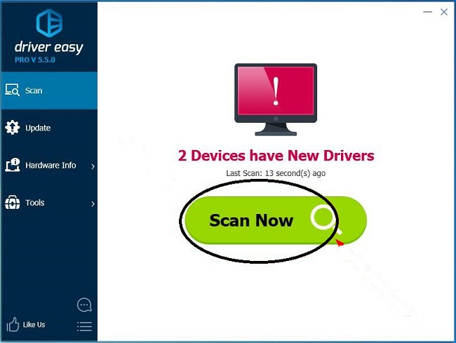Scan your system using driver easy