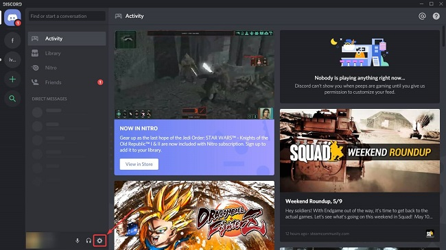 Click on User Setting Option on Discord