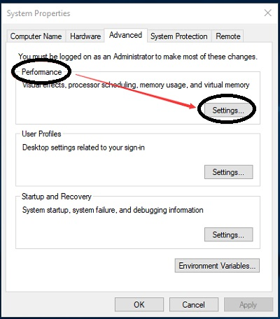 Click on Settings option