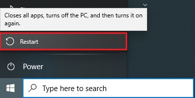 Restart your computer to fix VAC Was Unable to Verify the Game Session