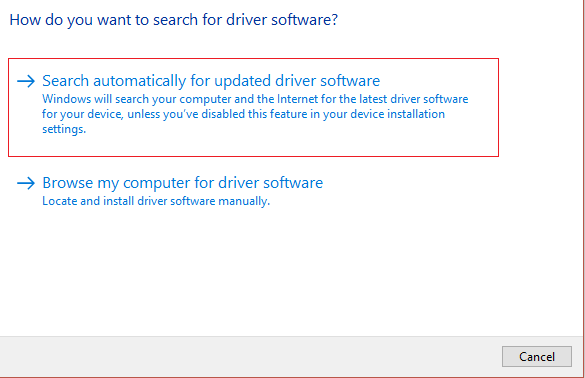 Manually Select options to search for driver software to fix the Wacom Tablet Driver Not Found error