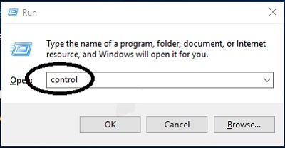 Type Control command in Run Dialog Box