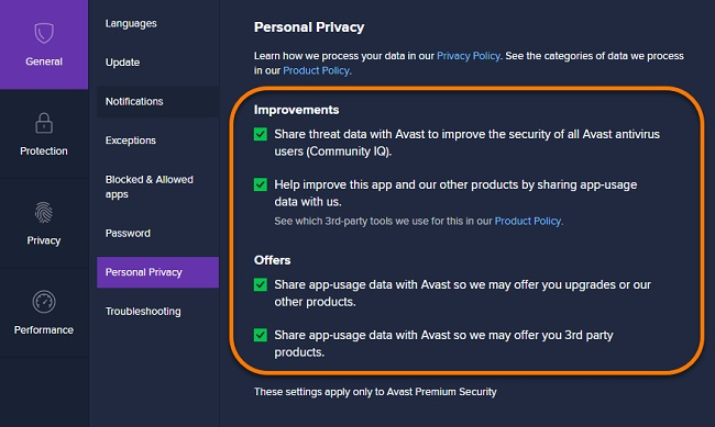 Avast Privacy settings does avast slow down computer